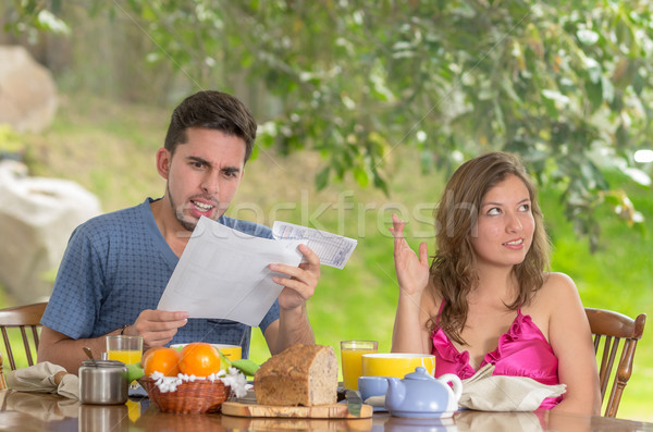 Stressed man and woman arguing about family budget Stock photo © pxhidalgo
