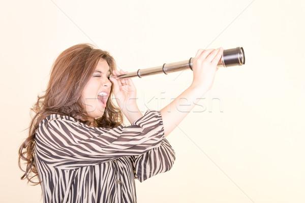 телескопом женщину волос будущем женщины Сток-фото © pxhidalgo