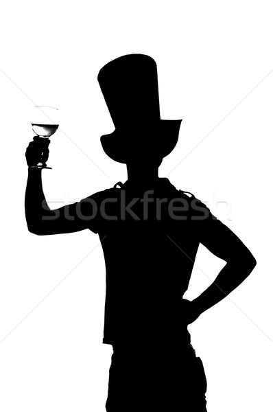 silhouette of a man with a glass of red wine Stock photo © pxhidalgo