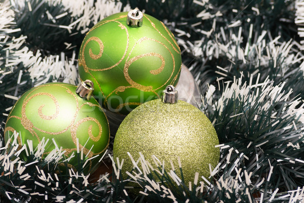 Green Christmas-tree decorations. Selective focus. Stock photo © pxhidalgo