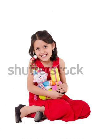 Onschuldige meisje spelen pop gezicht gelukkig Stockfoto © pxhidalgo