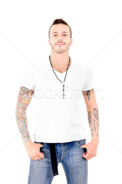 Gangster лице человека городского весело Сток-фото © pxhidalgo