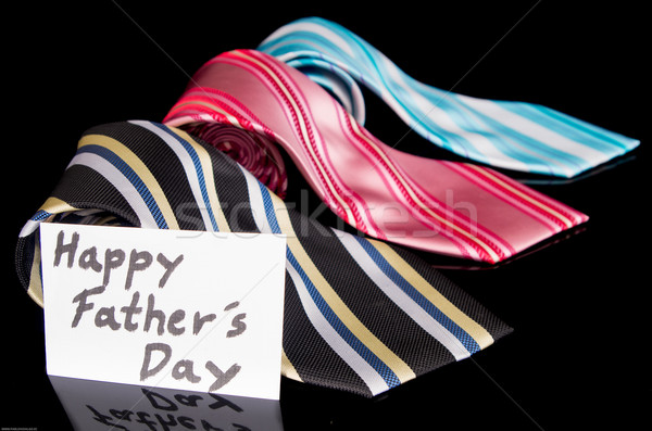 Stock photo: Happy Fathers Day tag with neckties