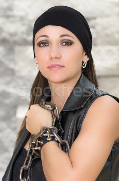 attractive brunette in black, gang member Stock photo © pxhidalgo