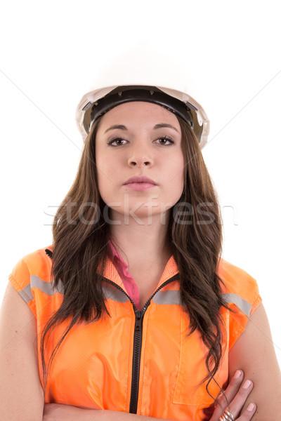 Kobiet pracownik budowlany inżynier model dziewczyna Zdjęcia stock © pxhidalgo