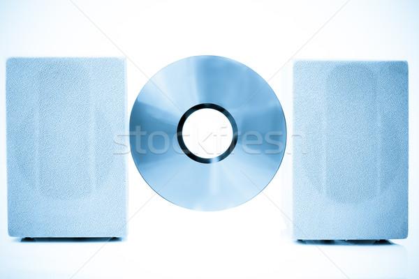 Kompakt lemez hangfalak szín kék tánc Stock fotó © pxhidalgo