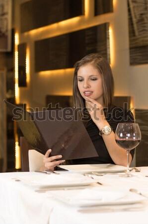 ストックフォト: いい · 少女 · 何 · 食べる · 写真 · 女性