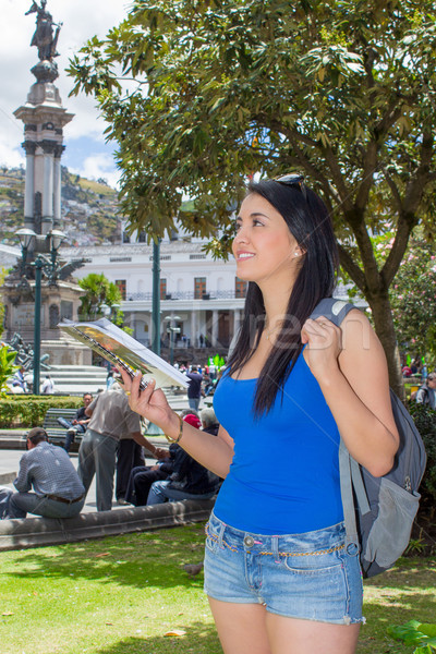 Young woman tourist in historic old town Quito Ecuador Stock photo © pxhidalgo