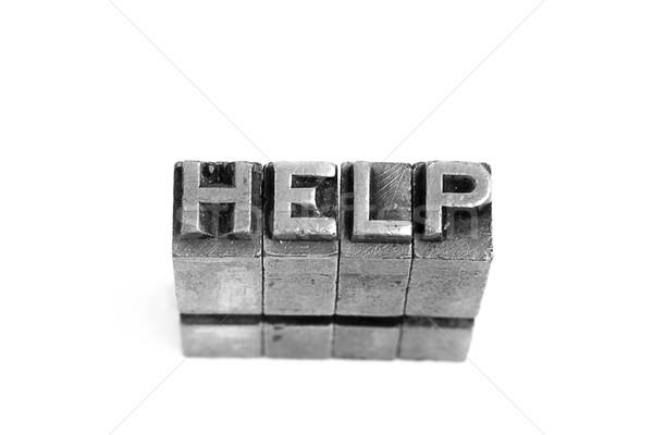Stockfoto: Helpen · teken · antieke · metaal · brief · type