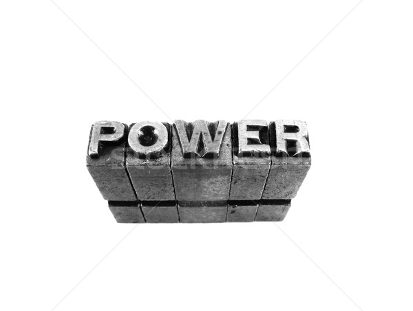POWER sign, antique metal letter type isolated Stock photo © pxhidalgo