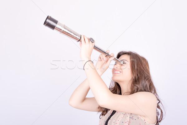 Młoda kobieta teleskop kobieta włosy przyszłości kobiet Zdjęcia stock © pxhidalgo