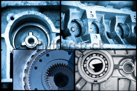 ball bearings, pinion-gears set blue toning idea Stock photo © pxhidalgo