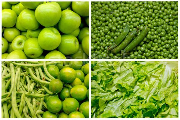 Сток-фото: коллаж · свежие · фрукты · овощей · зеленый · продовольствие · яблоко