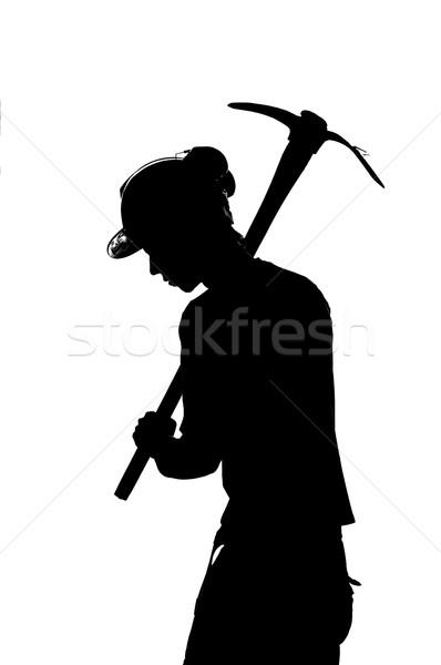 Stok fotoğraf: Siluet · mayın · işçi · kask · adam · ışık