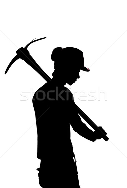 silhouette of a Mine worker with a pick Stock photo © pxhidalgo