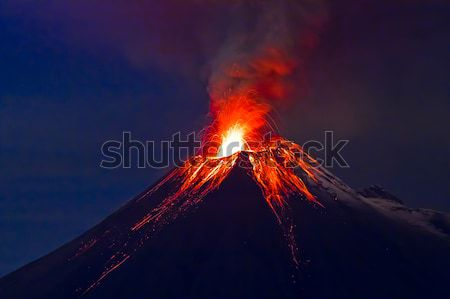 Tungurahua Volcano eruption and blue skies Stock photo © pxhidalgo