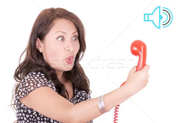 Latino vrouw naar oude telefoon communicatie Stockfoto © pxhidalgo