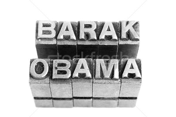 Barak Obama, antique metal letter type Stock photo © pxhidalgo