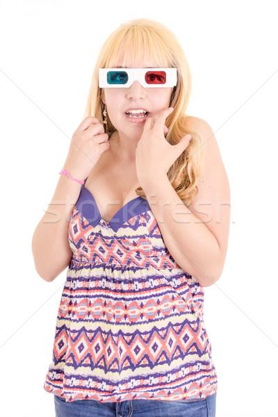 Jonge vrouw verwonderd kijken tv 3d-bril gezicht Stockfoto © pxhidalgo
