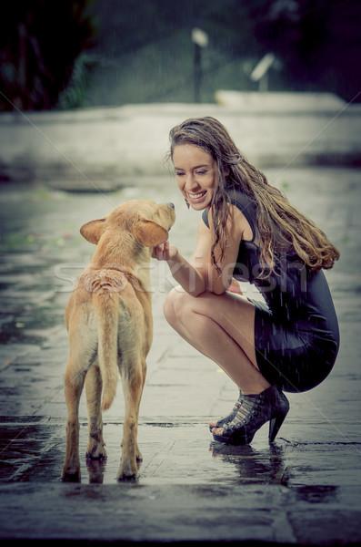 Fiatal nő hajléktalan kutya eső nő mosoly Stock fotó © pxhidalgo