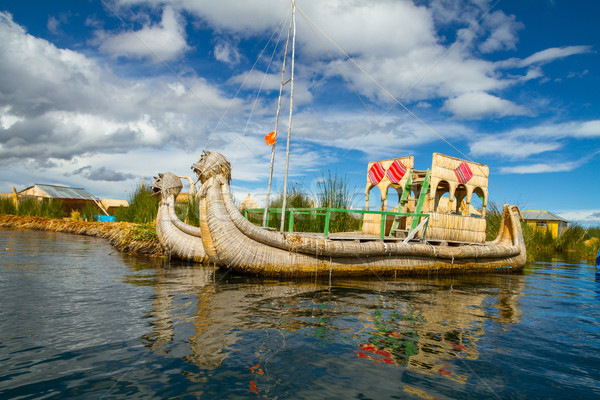 The floating and tourist Islands of lake Titicaca Stock photo © pxhidalgo