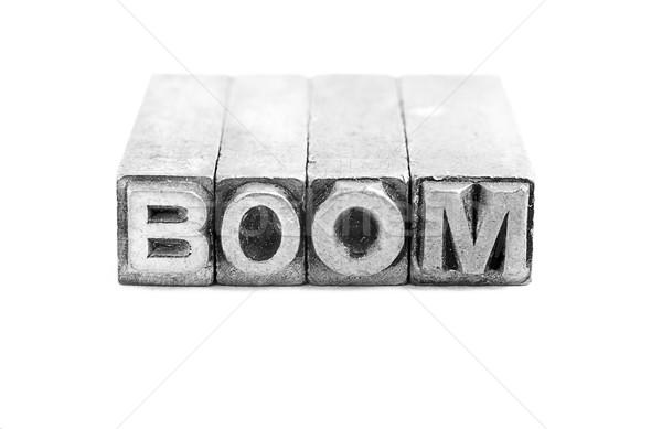 Boom Zeichen antiken Metall Schreiben Typ Stock foto © pxhidalgo
