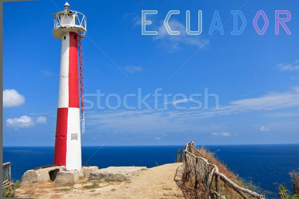Lighthouse with banner of Ecuador Stock photo © pxhidalgo