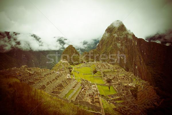 Tajemniczy miasta Machu Picchu Peru kolor budynku Zdjęcia stock © pxhidalgo