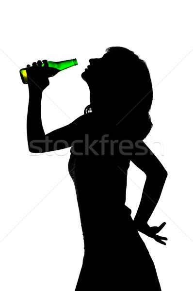Stok fotoğraf: Genç · kız · içme · bira · siluet · cam · şişe