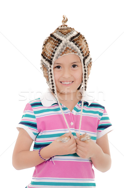 Little hispanic girl with peruvian hat Stock photo © pxhidalgo