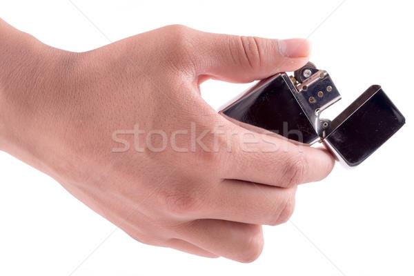 Mão manter isqueiro branco homem Foto stock © pxhidalgo