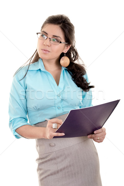 Portrait business woman or teacher with blue folder, on white background Stock photo © pxhidalgo