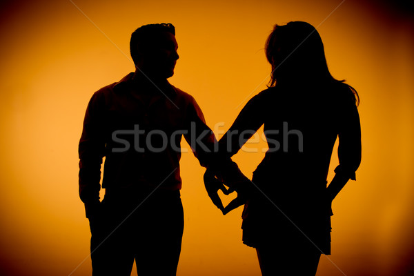 couple silouette photography holding hands Stock photo © pxhidalgo