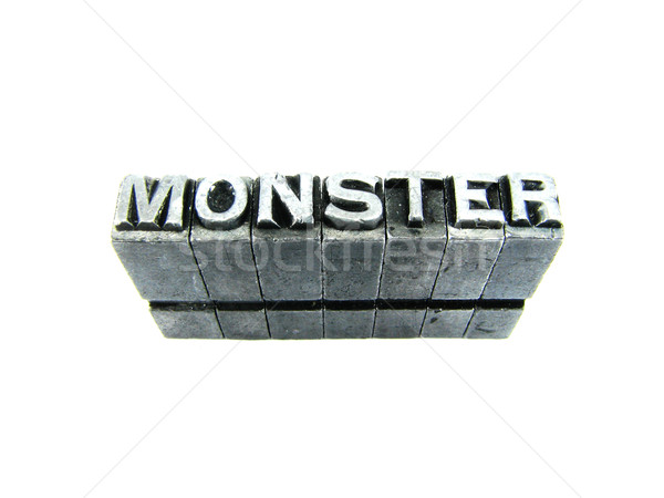 monster sign, antique metal letter type isolated Stock photo © pxhidalgo