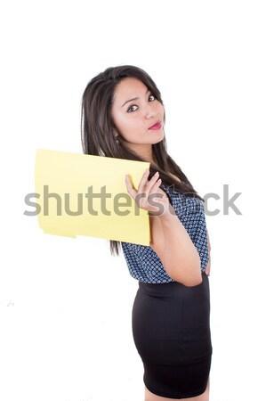 Kadın boş kart yalıtılmış beyaz kâğıt Stok fotoğraf © pxhidalgo