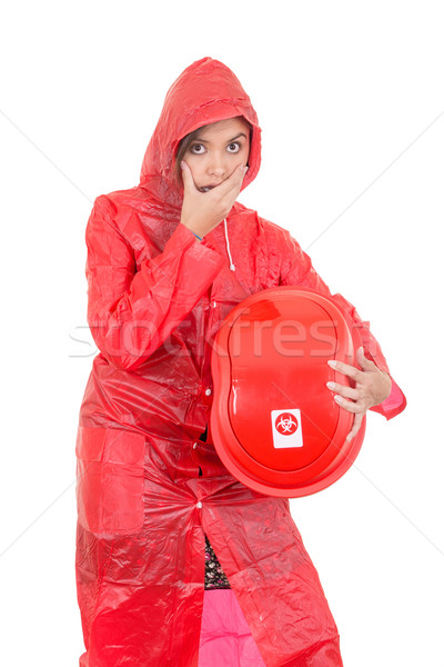 woman Warning because of hazard waste (radioactive) Stock photo © pxhidalgo