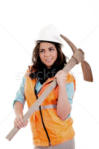 Femminile ax costruzione blu industria lavoratore Foto d'archivio © pxhidalgo