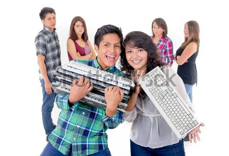 Group of friends recycling keyboards, ewaste Stock photo © pxhidalgo