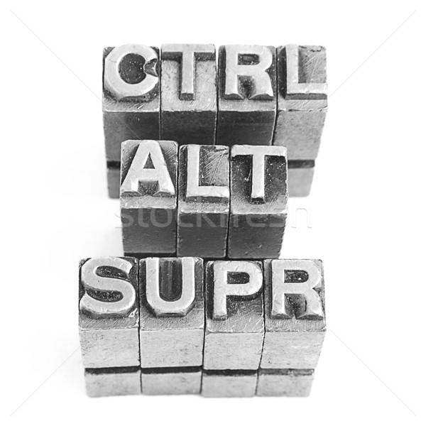 Control alt supr sign, antique metal letter type Stock photo © pxhidalgo