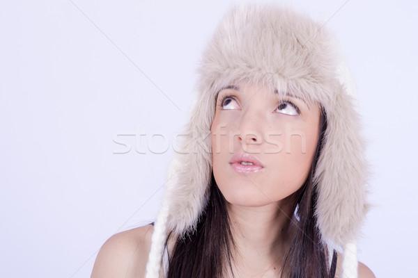 Stock fotó: Gyönyörű · lány · szőrös · kalap · tél · nő · portré · divat