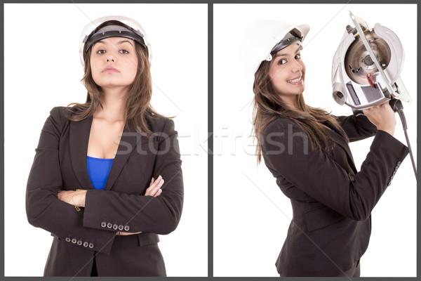 Genç mutlu inşaat üniforma kadın Stok fotoğraf © pxhidalgo