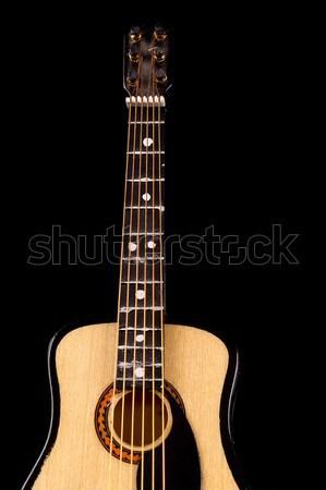 Akusztikus gitár hangjegyek zene fa gitár művészet Stock fotó © pxhidalgo