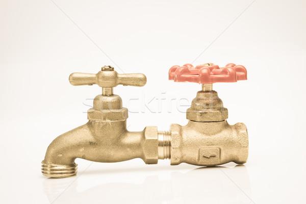 BVintage brass faucet with a shut-off valve concept Stock photo © pxhidalgo