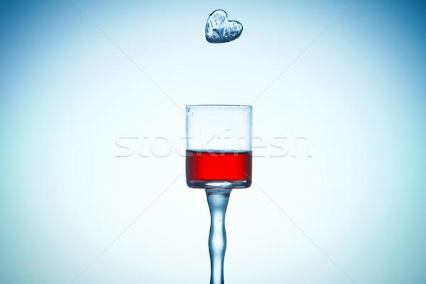 ice falling in glass studio shot color processed Stock photo © pxhidalgo