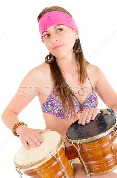 beautiful woman playing bongos studio shot Stock photo © pxhidalgo