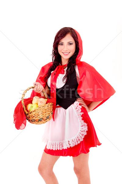 Küçük kırmızı binicilik elma sepet Stok fotoğraf © pxhidalgo
