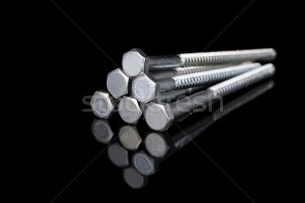 Screws on Black background Stock photo © pxhidalgo
