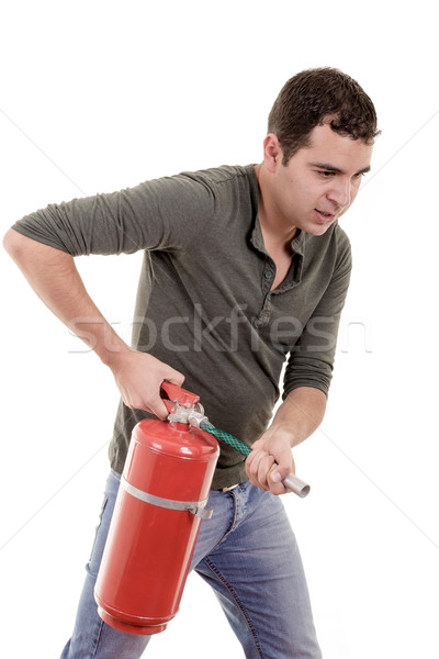 Iş adamı yangın söndürücü metin yangın Stok fotoğraf © pxhidalgo