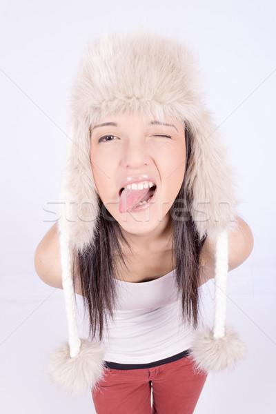 Beautiful girl peludo seis inverno moda Foto stock © pxhidalgo