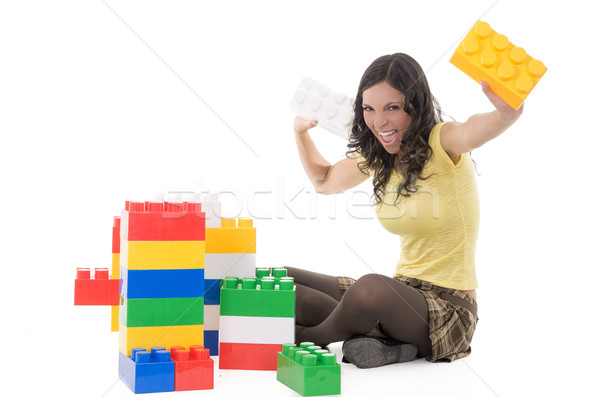 Woman playing with blocks Stock photo © pxhidalgo